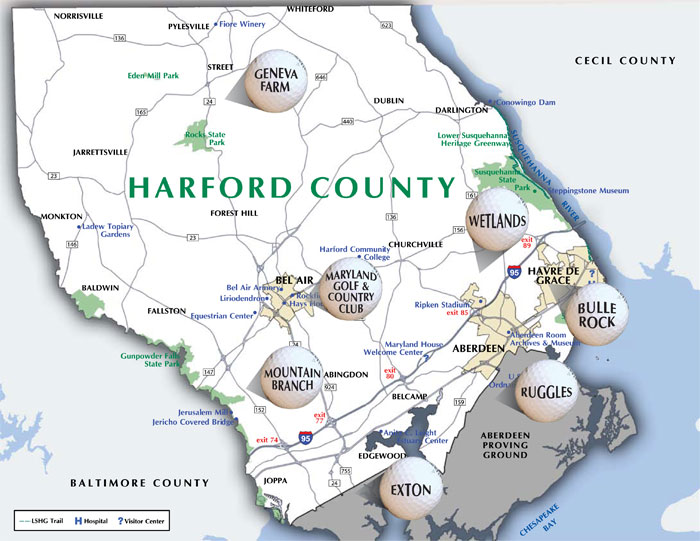 Harford County Maryland Golf Courses And Trips: Map Of Harford County Maryland At Slyspyder.com